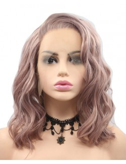Lace front light pink wave celebrity short wigs