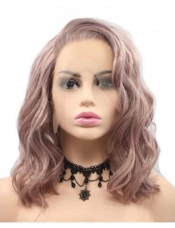 Perruques courtes rose clair dentelle devant