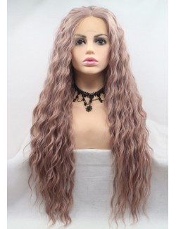 Affordable lace front light pink wavy long wigs