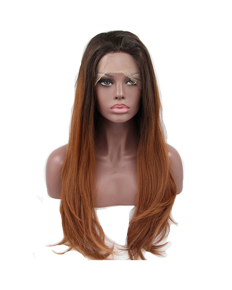 Synthetic lace front long straight honey blonde wigs