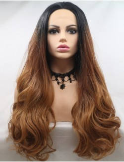 Synthetic lace front brown wavy long wigs
