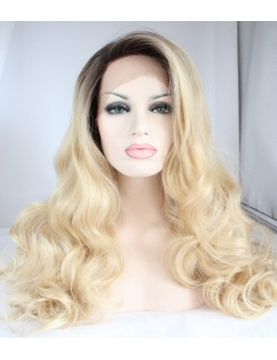 Lace front synthetic blonde wavy long wigs