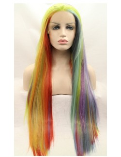 Front lace lgbt rainbow straight wig multicolored