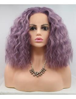 Light purple lace front curly shoulder length lace wigs