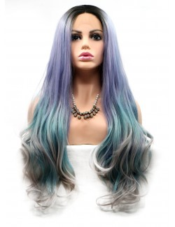 Front lace purple lake blue and grey straight wigs
