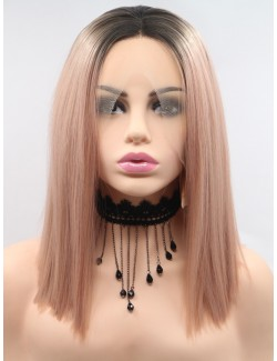 Light color lace front straight medium lace wigs