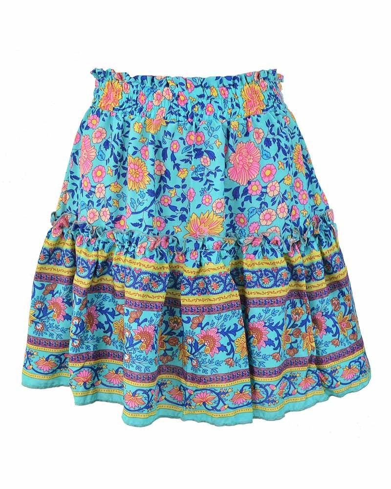 Women Blue Bohemian Floral Print Mini Skirts