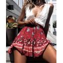 Casual Beach Summer Ruffle Print Red Short Skirt