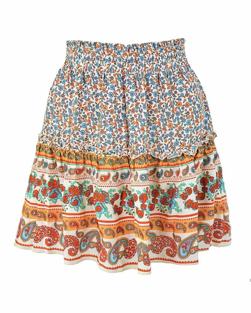 Summer Vintage High Waist Floral Beach Skirt