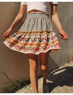 Summer Vintage High Waist Floral Beach Skirt