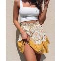 Yellow Floral Elastic High Waist Mini Skirt