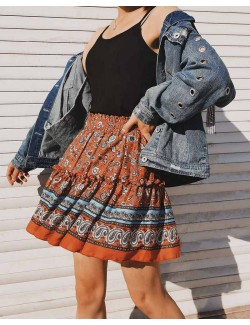 Summer Floral Print Bohemian Style Pleated Short Skirt