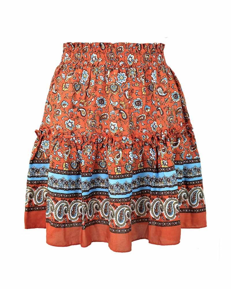 Summer Floral Print Bohemian Style Pleated Short Skirt