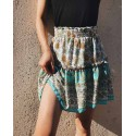 Women Floral Print Bohemian Mini Casual Skirt