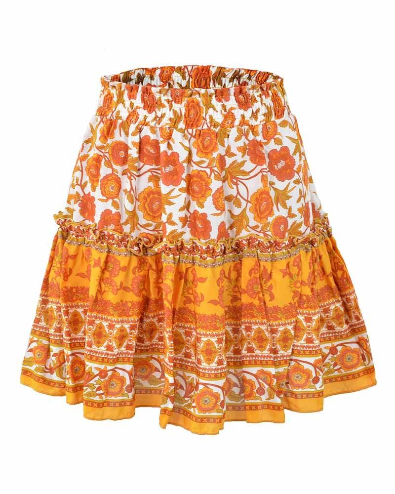 Orange Floral Print Bohemian Casual Beach Mini Skirt