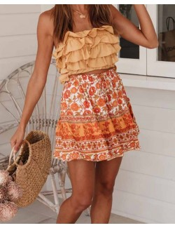 Orange Floral Print Bohemian Casual Beach Mini Skirt