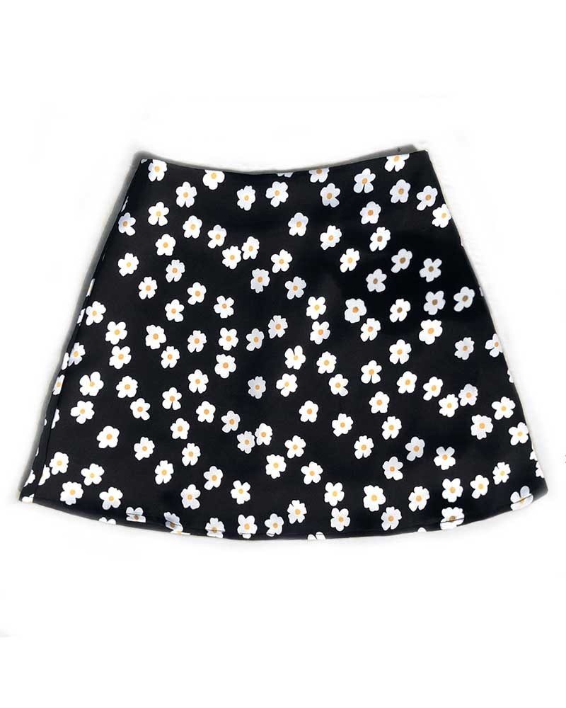 Black Short Satin Mini Skirt
