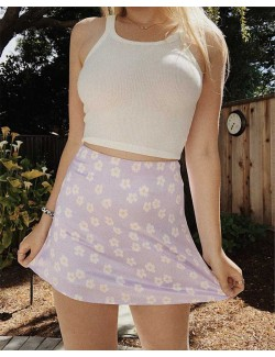 Light Violet Purple Floral Print Short Skirt