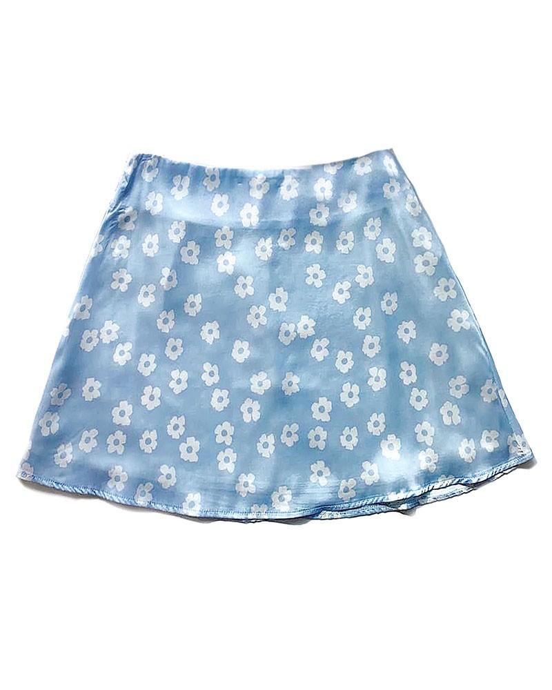 Blue Floral Print Short Skirt