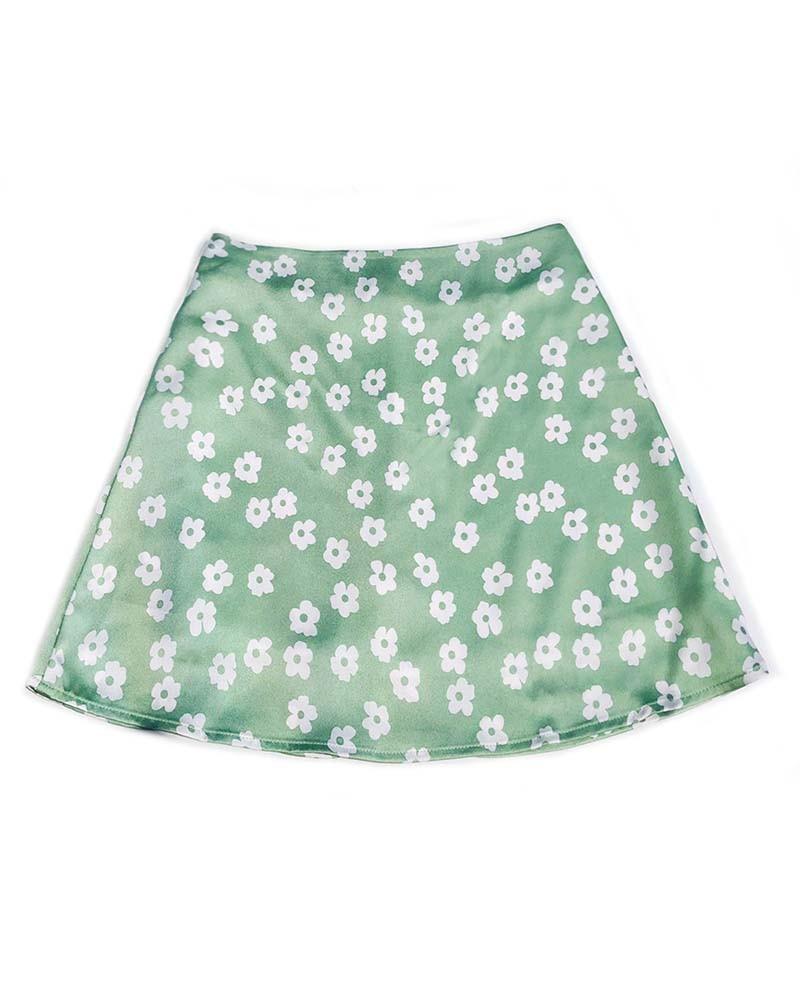 Green Floral Print Short Skirt