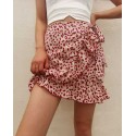 Casual Floral Tie-Up Short Wrap Around Skirt