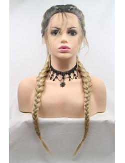Lace front two braids blonde long wigs