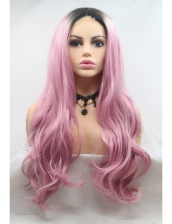 Light purple lace long wavy wigs