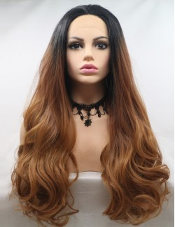 Blonde brown wavy easeful long lace front wigs