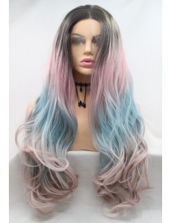 Punk style lace front colorful long wavy wigs