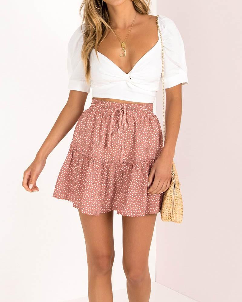 Summer's Leisure Drawstring Waist Dot Frill Trim Skirt