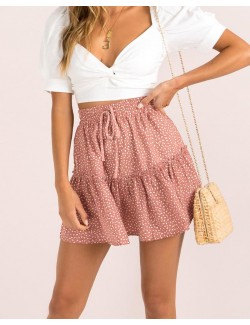 Summer's Leisure Drawstring Waist Dot Frill Trim Skirt