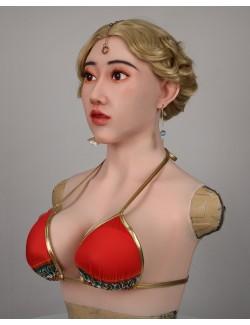 Masque en silicone réaliste viasage de silveste buste faux seins avec
