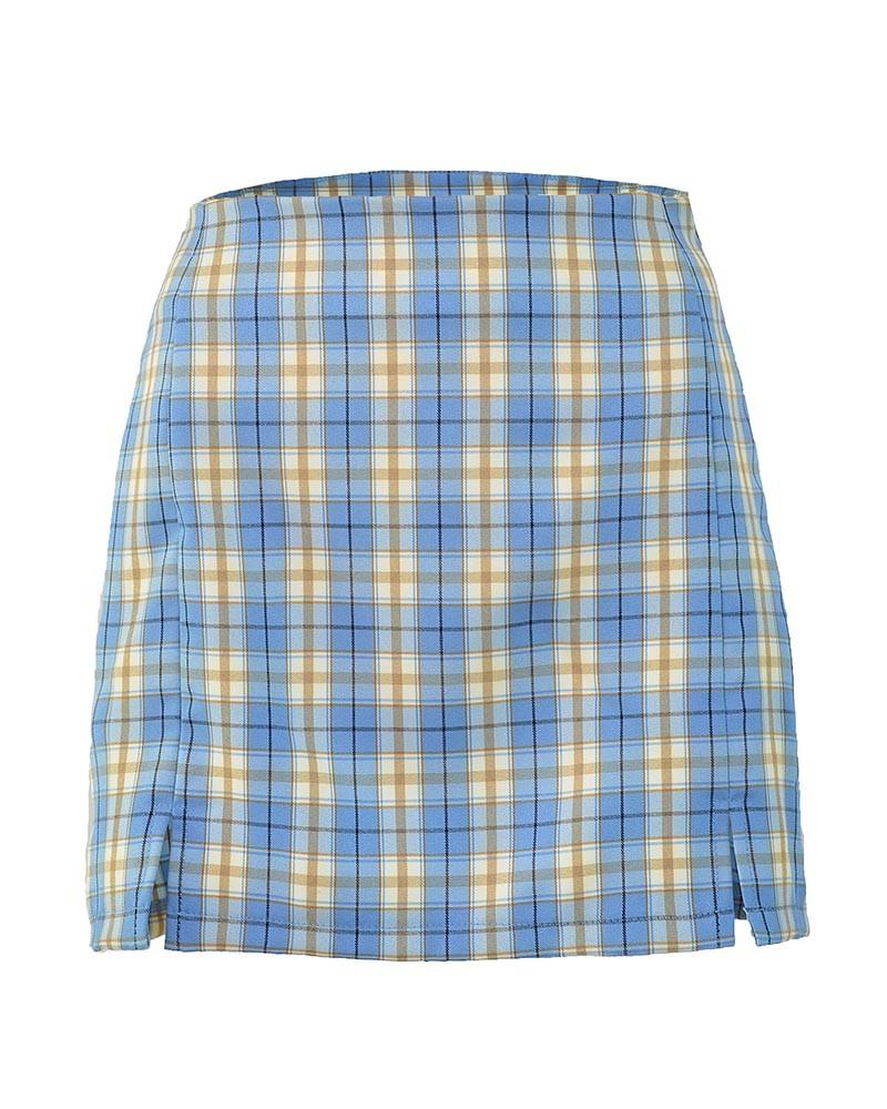 Checkered Mini Pencil Skirt