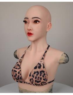 Masque silicone réaliste viasage Christina buste faux seins avec