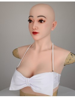 Buste faux seins avec masque silicone visage Claire