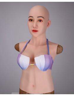 Buste faux seins avec masque silicone visage Angela