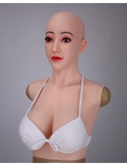 Buste faux seins avec masque silicone visage Alice