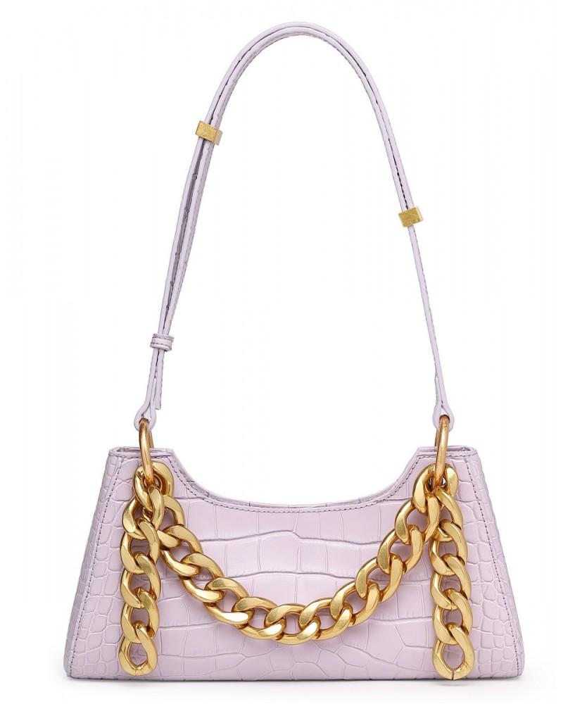 Trendy luxury handbag cowhide golden chain
