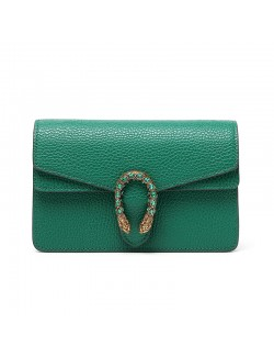 Emerald green small bag 2020 trendy messenger bag mini chain leather handbags