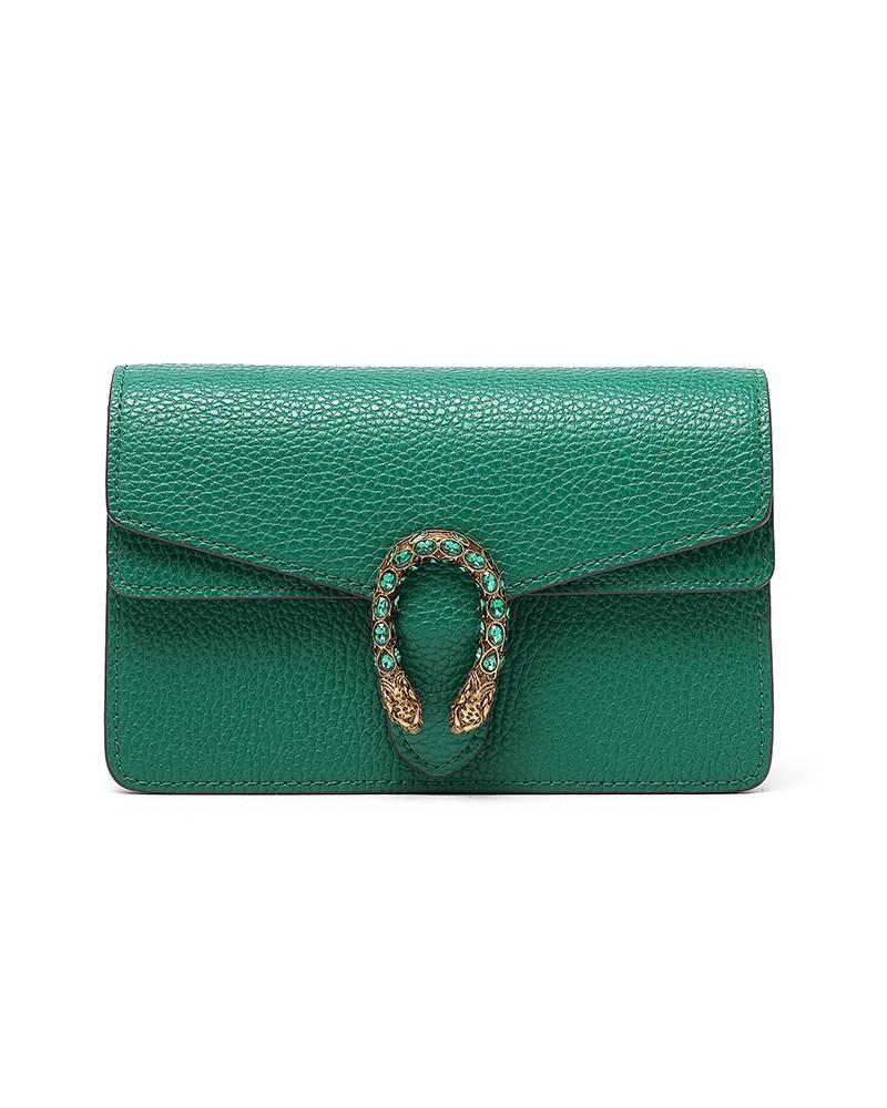 Emerald green small bag 2020 trendy messenger bag mini chain leather handbags
