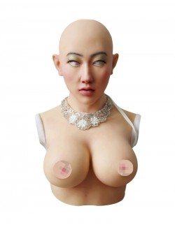 Silicone breast form with mask integrated