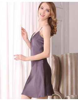 Fashion spaghetti strap pure silk nightwear