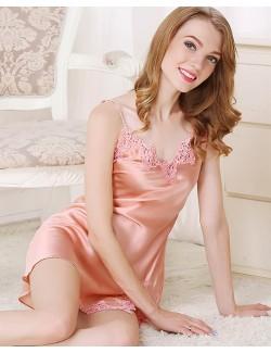 100% silk lace short slip chemise