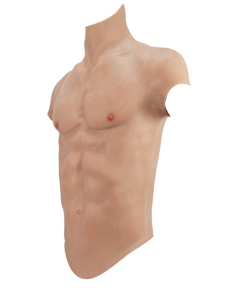 Fake male muscle high collar chest plate