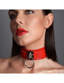 Leather choker celebrity neck clavicle chain with ring