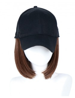 New one-piece baseball cap short bob wigs extensions synthetic wave wig
