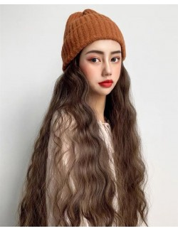 One-piece wool cap natural curly long wigs extensions