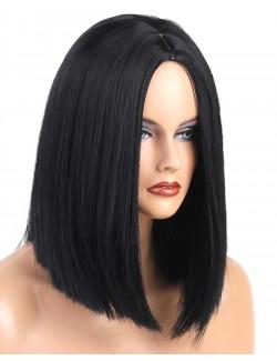 Black short straight centre parting bob wig