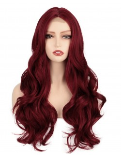 Long wave red haired wig lace front natural realistic