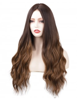 Realistic long wavy brown hair wig lace front realistic